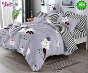 Спално бельо от 100% памук, 6 части и чаршаф с ластик с код GT-09