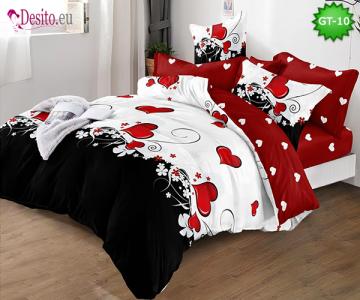Спално бельо от 100% памук, 6 части и чаршаф с ластик с код GT-10