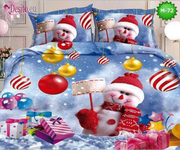 Коледно спално бельо от 100% памук, 6 части - двулицево, с код М-72