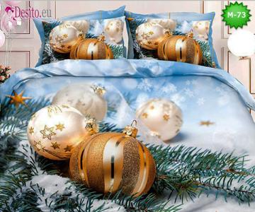 Коледно спално бельо от 100% памук, 6 части - двулицево, с код М-73