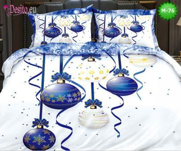 Коледно спално бельо от 100% памук, 6 части - двулицево, с код М-76