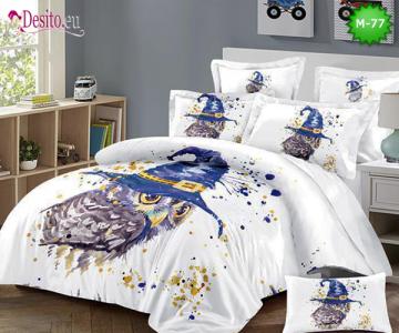 Спално бельо от 100% памук, 6 части - двулицево, с код М-77