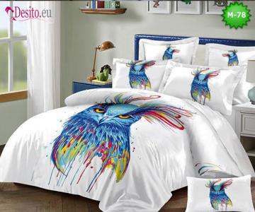 Спално бельо от 100% памук, 6 части - двулицево, с код М-78