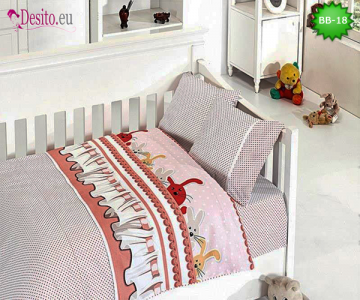 Детско спално бельо от 100% памук, 4 части с код BB-18