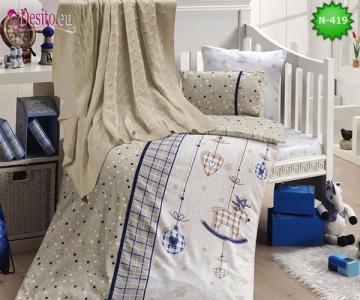 Детско спално бельо с плетено одеяло N-419