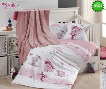 Детско спално бельо с плетено одеяло N-421