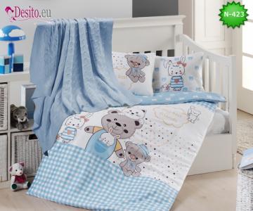 Детско спално бельо с плетено одеяло N-423