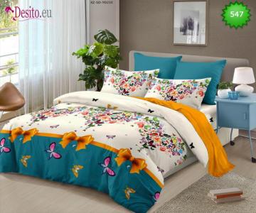 Спално бельо от 100% памук, 6 части - двулицево, с код 547