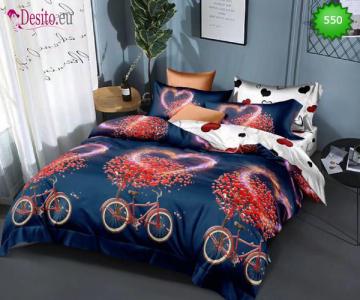 Спално бельо от 100% памук, 6 части - двулицево, с код 550