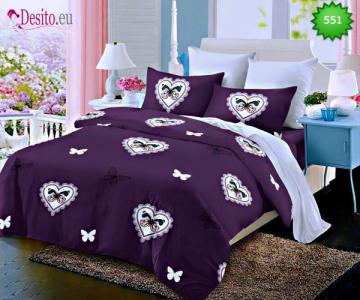 Спално бельо от 100% памук, 6 части - двулицево, с код 551