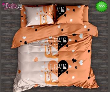 Спално бельо от 100% памук, 6 части - двулицево, с код 555