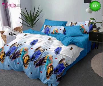 Спално бельо от 100% памук, 6 части - двулицево, с код 557