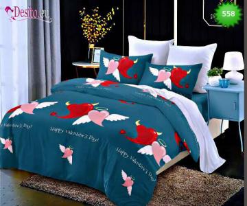 Спално бельо от 100% памук, 6 части - двулицево, с код 558