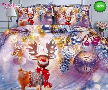 Коледно спално бельо от 100% памук, 6 части - двулицево, с код M-75