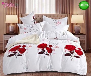Спално бельо от 100% памук, 6 части - двулицево, с код 46-89