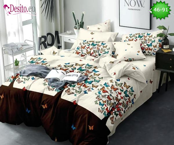 Спално бельо от 100% памук, 6 части - двулицево, с код 46-91