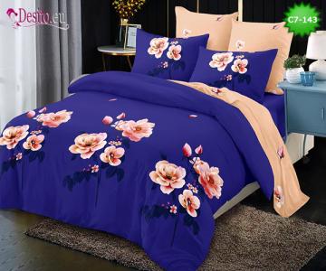 Спално бельо от 100% памук, 6 части - двулицево, с код C7-143