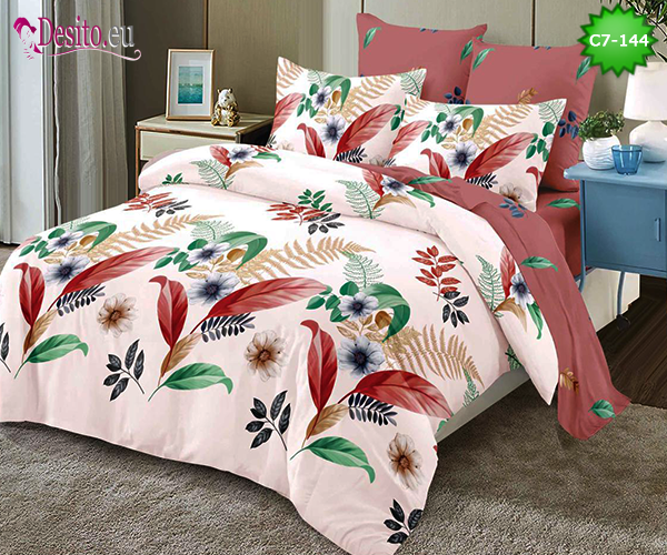 Спално бельо от 100% памук, 6 части - двулицево, с код C7-144