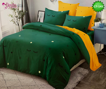 Спално бельо от 100% памук, 6 части - двулицево, с код C7-145