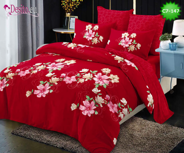 Спално бельо от 100% памук, 6 части - двулицево, с код C7-147