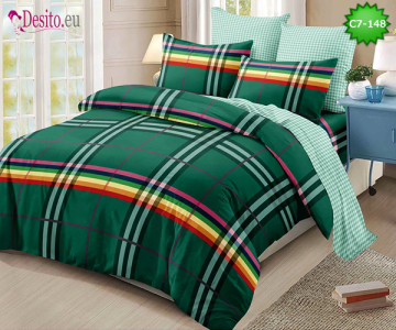 Спално бельо от 100% памук, 6 части - двулицево, с код C7-148