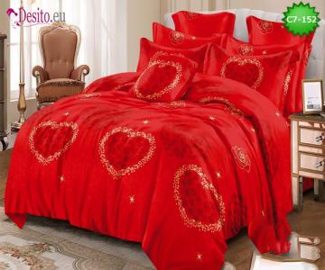 Спално бельо от 100% памук, 6 части - двулицево, с код C7-152