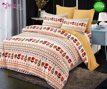 Спално бельо от 100% памук, 6 части - двулицево, с код C7-154