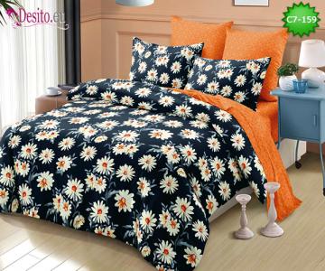 Спално бельо от 100% памук, 6 части - двулицево, с код C7-159