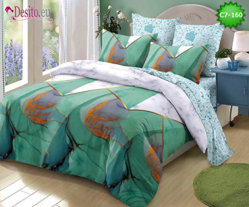 Спално бельо от 100% памук, 6 части - двулицево, с код C7-160