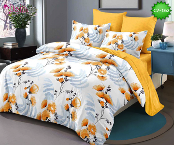 Спално бельо от 100% памук, 6 части - двулицево, с код C7-162