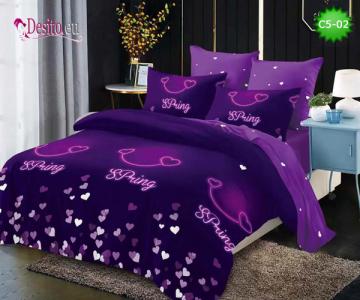 Спално бельо от 100% памук, 6 части и чаршаф с ластик с код C5-02