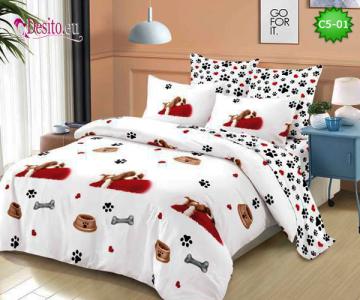 Спално бельо от 100% памук, 6 части и чаршаф с ластик с код C5-01
