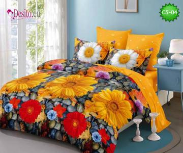 Спално бельо от 100% памук, 6 части и чаршаф с ластик с код C5-04