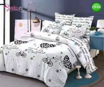 Спално бельо от 100% памук, 6 части и чаршаф с ластик с код C5-06