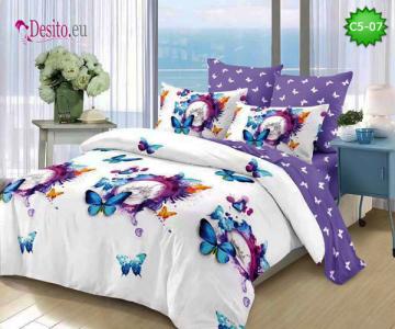 Спално бельо от 100% памук, 6 части и чаршаф с ластик с код C5-07