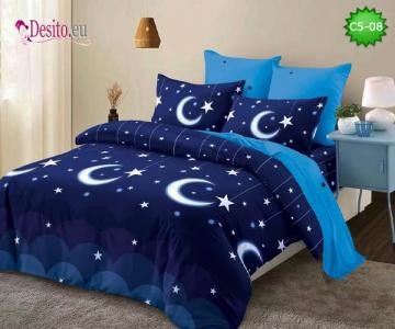 Спално бельо от 100% памук, 6 части и чаршаф с ластик с код C5-08
