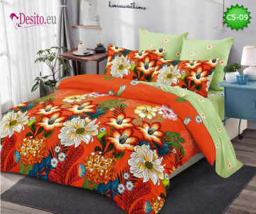Спално бельо от 100% памук, 6 части и чаршаф с ластик с код C5-09