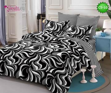 Спално бельо от 100% памук, 6 части и чаршаф с ластик с код C5-10