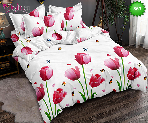 Спално бельо от 100% памук, 6 части, двулицево с код 563