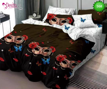 Спално бельо от 100% памук, 6 части, двулицево с код 568