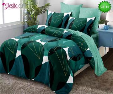 Спално бельо от 100% памук, 6 части и чаршаф с ластик с код C5-16