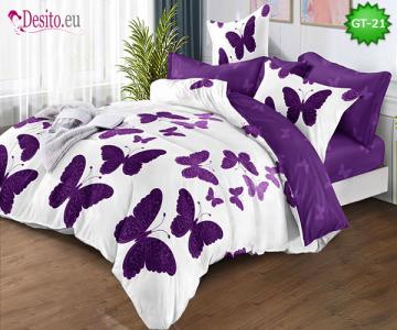 Спално бельо от 100% памук, 6 части и чаршаф с ластик с код GT-21