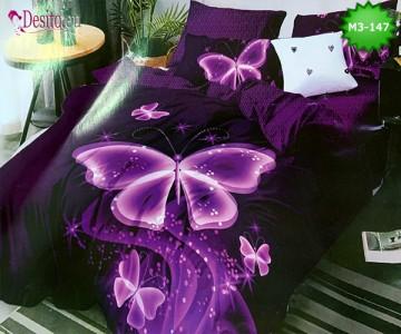 Спално бельо от 100% памук, 6 части, двулицево с код M3-147