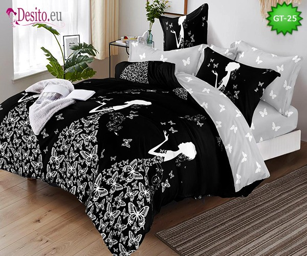 Спално бельо от 100% памук, 6 части и чаршаф с ластик с код GT-25