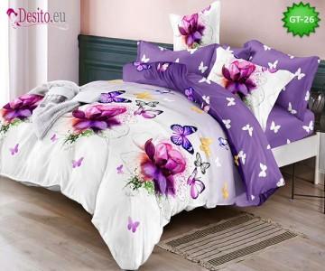 Спално бельо от 100% памук, 6 части и чаршаф с ластик с код GT-26