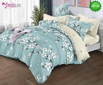Спално бельо от 100% памук, 6 части и чаршаф с ластик с код GT-29