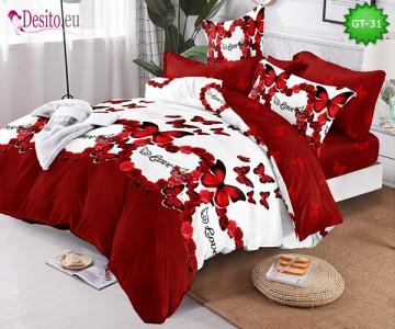 Спално бельо от 100% памук, 6 части и чаршаф с ластик с код GT-31