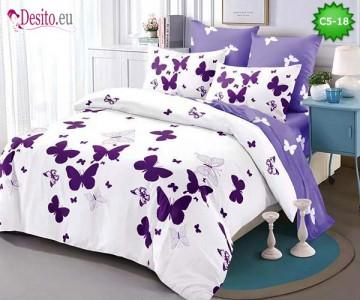 Спално бельо от 100% памук, 6 части и чаршаф с ластик с код C5-18