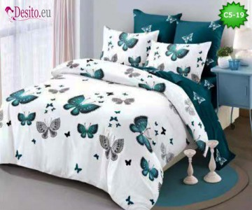 Спално бельо от 100% памук, 6 части и чаршаф с ластик с код C5-19