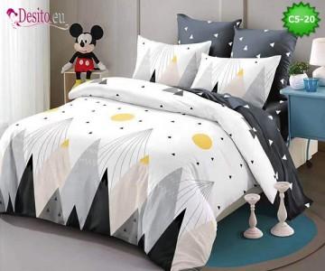 Спално бельо от 100% памук, 6 части и чаршаф с ластик с код C5-20
